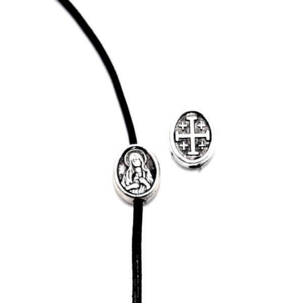 Σταυρός Παναγία Μεταλλική Χάντρα Ασημί 9,8x8mm