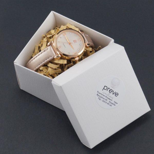 Γυναικείο Ρολόι Ροζ Χρυσό με Στρας(με θήκη)