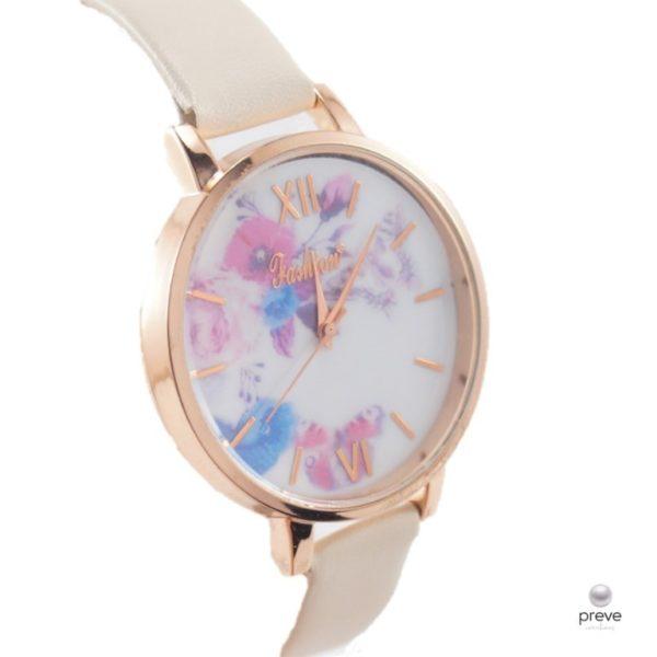 Γυναικείο Ρολόι Ρόζ Χρυσό & Εκρού με Λουλούδια(2)